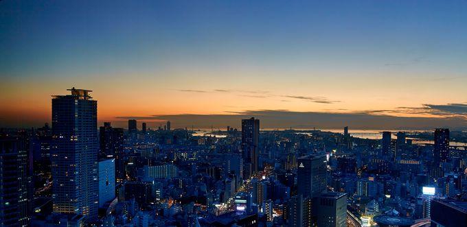 大阪市内の夜景も一望