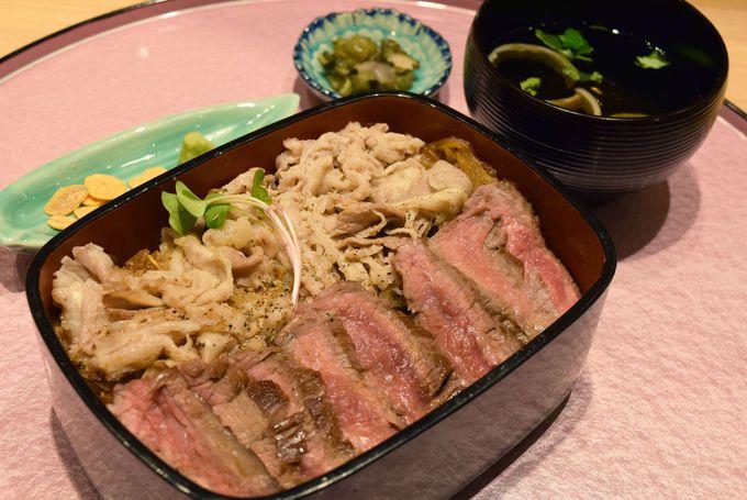 肉の卸問屋のビフテキ重「ロマン亭」ルクア限定の大阪肉いなりはおみやげに!