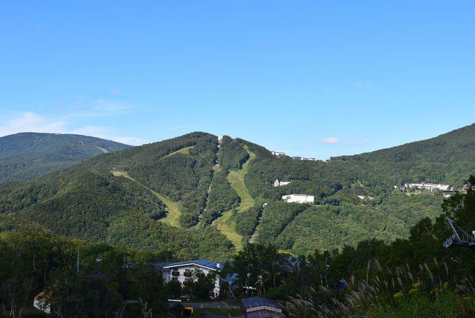 スキー場のゲレンデを通って蓮池へ