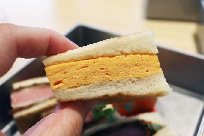出汁巻き玉子サンドとハムカツサンドのジューシーさがすごい