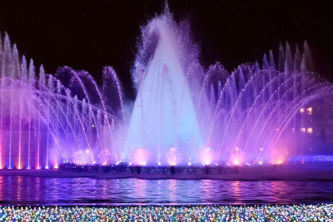 アクアエリアの噴水ショーがおすすめ!