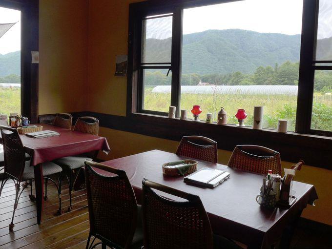 窓から見えるのは、農地と山!