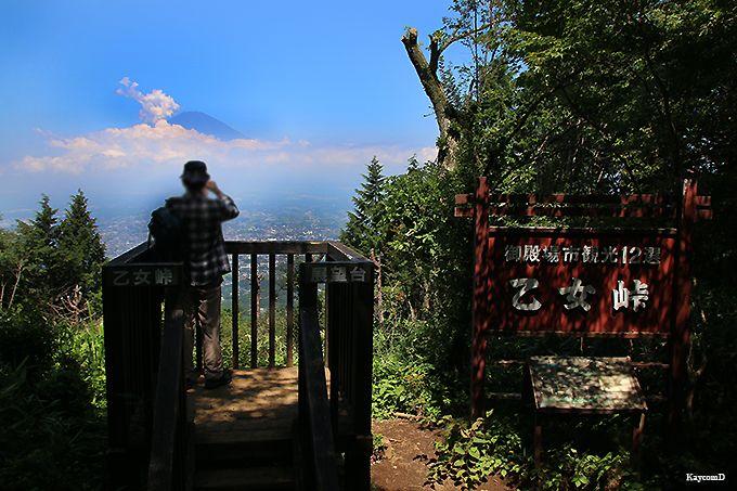 富士山が眺望できる乙女峠バス停から乙女峠