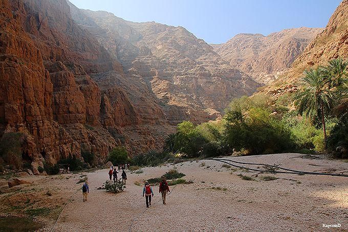 圧倒的な渓谷を歩いて向かうワディ・シャーブ