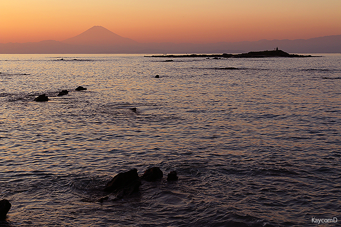 夕日と富士山の景勝地