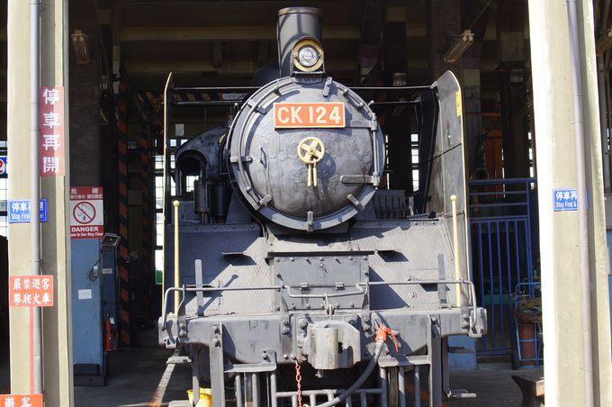 「機関車のホテル」車庫の中には様々な機関車が