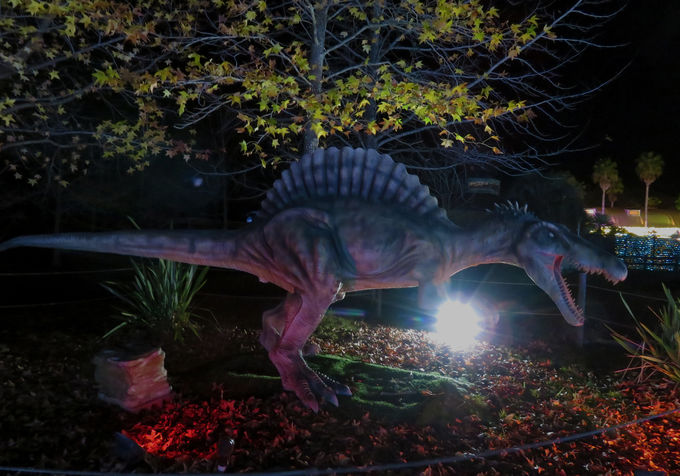 「恐竜のライトアップ」は迫力満点!
