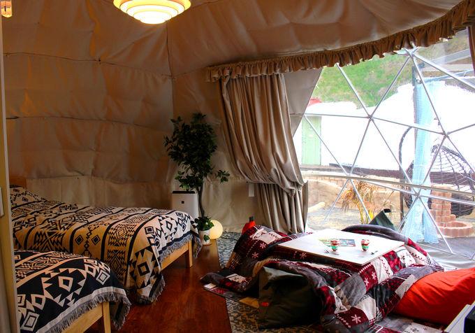 日本初の快適さ!各テントにバスルームが連結