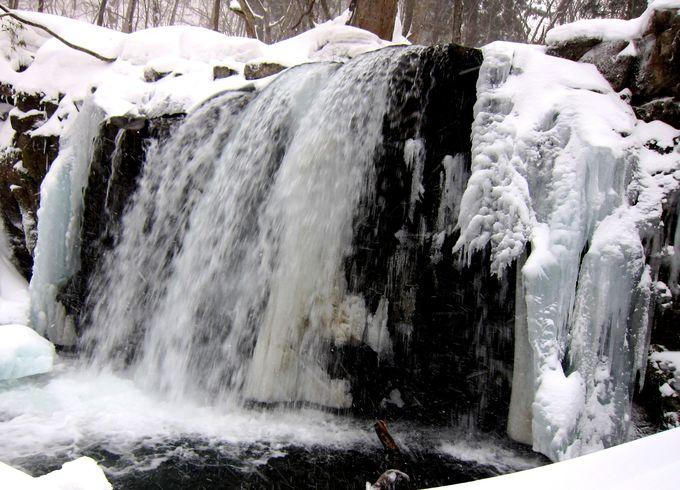 奥入瀬渓流最大の滝も凍結!普段より近くで見られる「銚子大滝」
