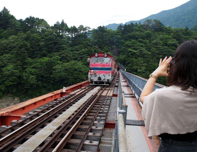【2】湖に浮かぶ絶景駅・奥大井湖上駅へと続く鉄道橋「レインボーブリッジ」