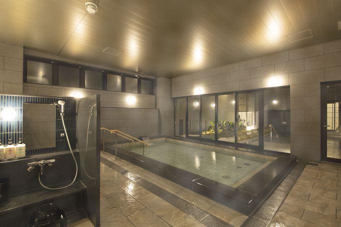 シンプルながら和モダンを実現した納得の部屋設備、大浴場