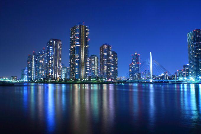 永代橋の江東区側に位置する眺望の優れた「永代公園」