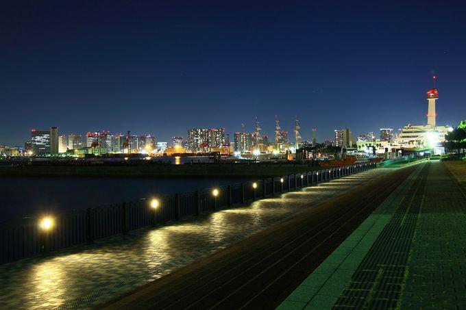 お台場の南西に位置する公園からは埠頭夜景が一望!青海南ふ頭公園