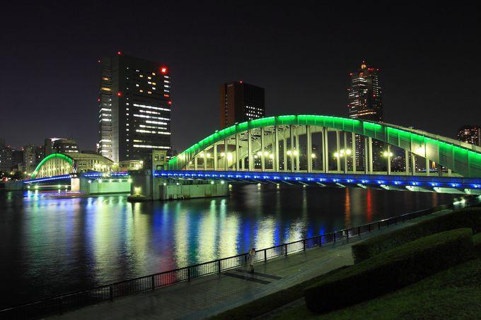 東京湾に1番近いライトアップ橋の「勝鬨橋」