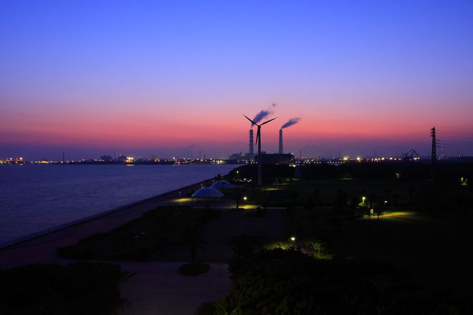 展望台から見える日の出前の朝焼けに大興奮!