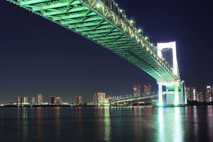 レインボーブリッジの真下から見る夜景はまるでニューヨーク?「芝浦ふ頭南公園」