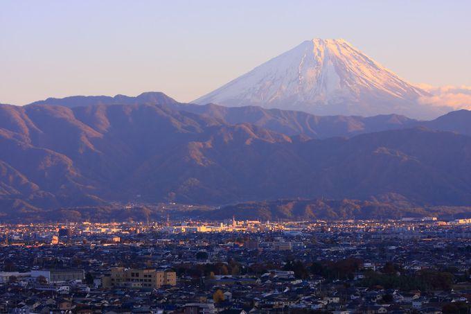 日没直後の富士山方面