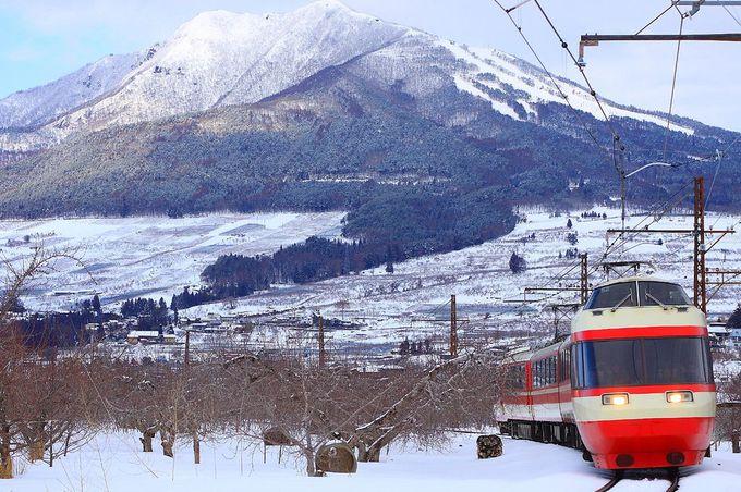 上条駅付近に広がる林檎畑と高社山を望むスポット