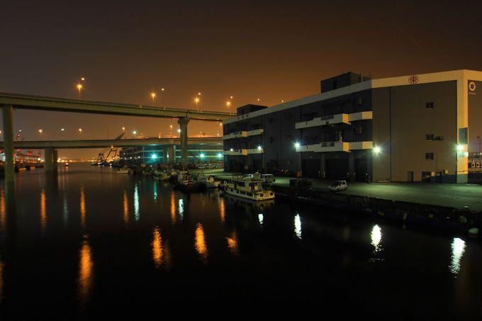 「本牧ジャンクション」の夜景を望む「本牧橋」