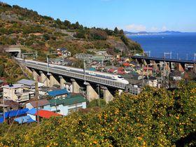 撮り鉄必訪!青い海と空背景に鉄道を撮ろう!神奈川県根府川周辺