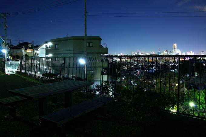 丘の上から郊外夜景を一望!「蒔田見晴らし公園」