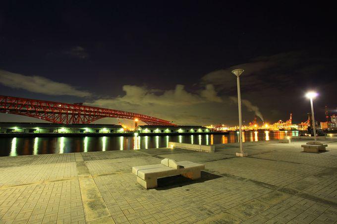 最大の見せ場は目の前に見える港大橋