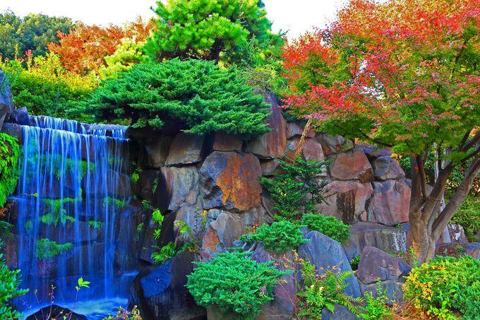 庭園内には秀湖に流れ落ちる滝も!