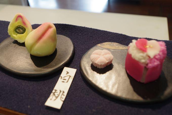 日本庭園を見ながら美しい和菓子をどうぞ