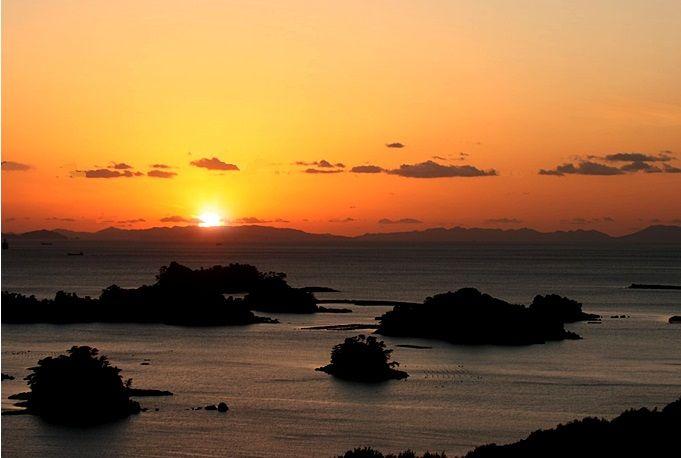 この風景を見ずして、帰るべからず。夕日に染まる九十九島