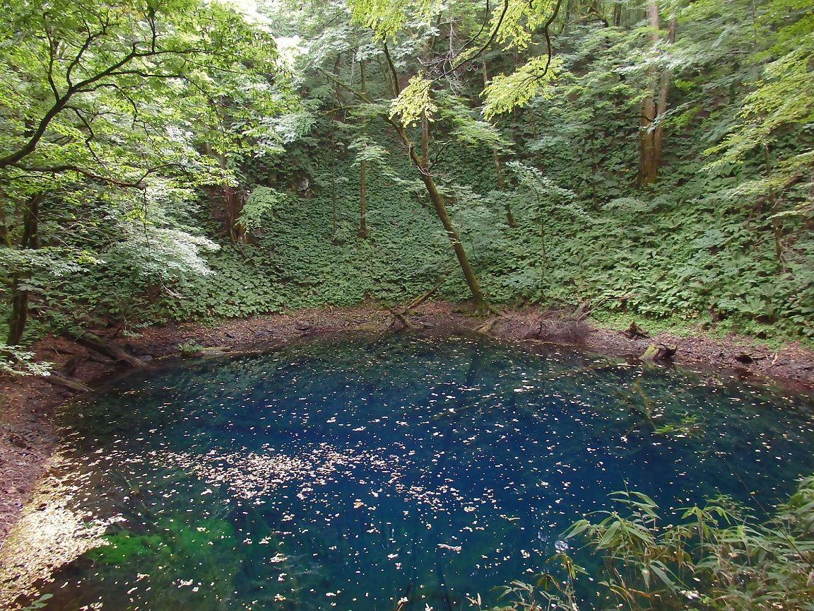 十二湖の代名詞の青池は群青色