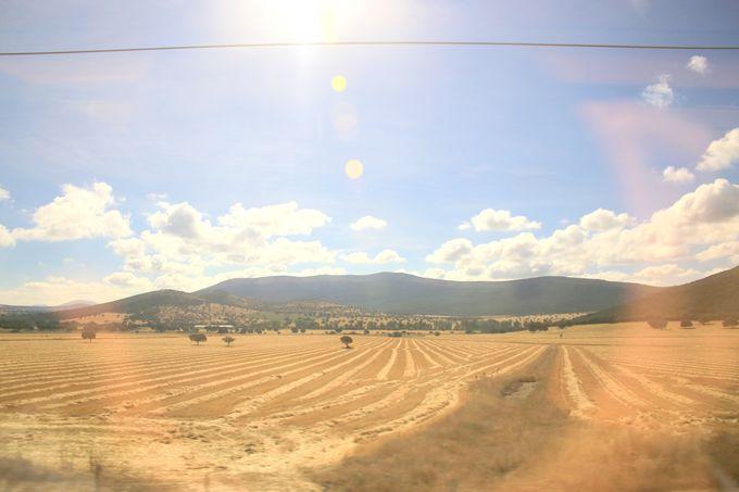 車窓からながめるスペインの田舎風景