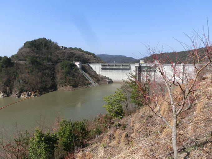 小里川ダムとおりがわ湖の眺め