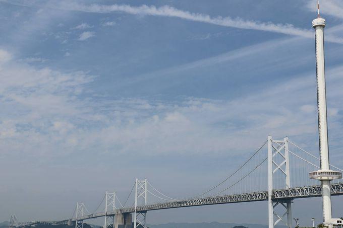回転する展望室「瀬戸大橋タワ—」高みからの広大な眺め