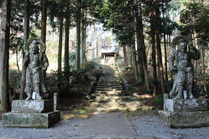 静かな山林の中に堂々と立つ仁王像が両子寺の入り口