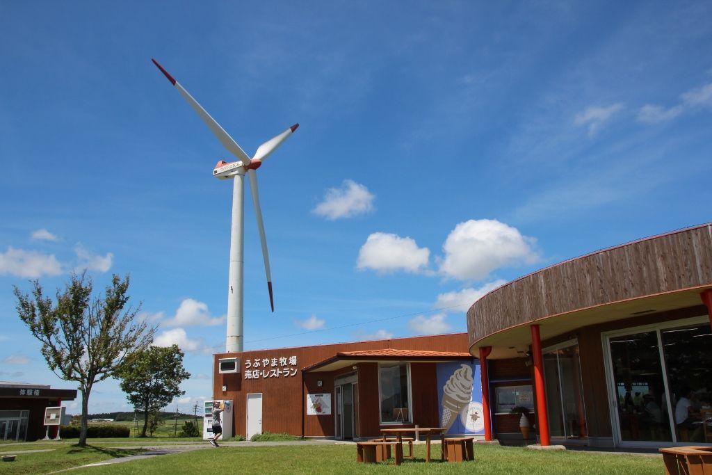 大きな発電風車が目印「うぶやま牧場」