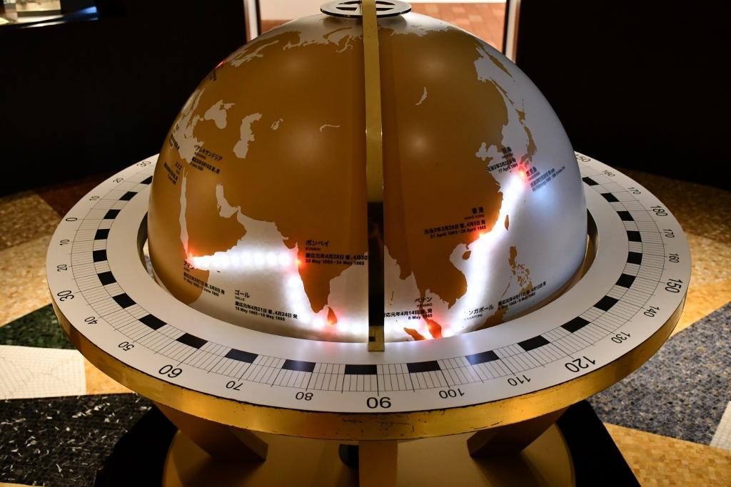 薩摩藩留学生の旅程を巡る地球儀