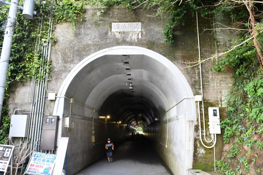 涼しいトンネルを抜けて遊歩道へ
