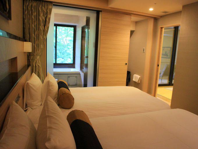 「ホテルはつはな」には露天風呂付き客室も