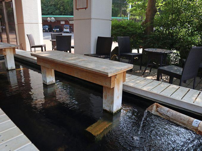 嬉野館の温泉は独自源泉、足湯カフェも