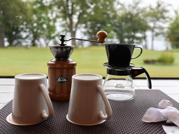 十和田プリンスホテルの客室にはコーヒーミルも