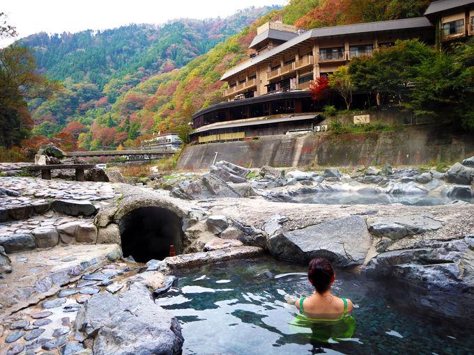 2日目朝:湯原ダムそびえる砂湯は、湯原温泉のシンボル