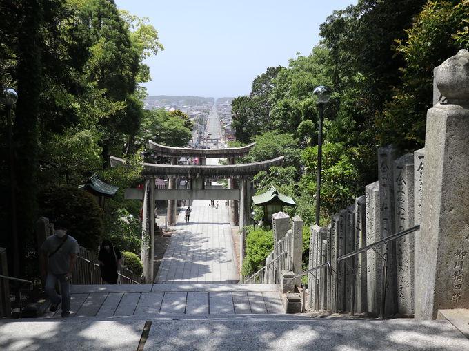 「かがみの海」の鳥居から続く宮地嶽神社の光の道