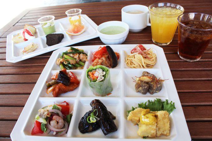 緑に囲まれたレストランやカフェでお腹も心も満たされる