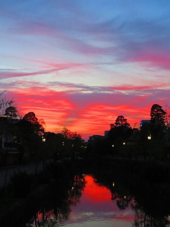 倉敷川と夕暮れ