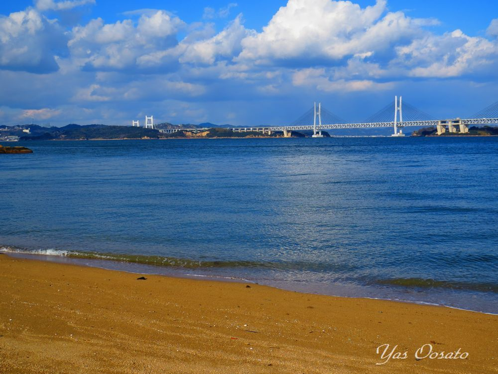 塩飽勤番所跡、長徳寺、瀬戸大橋の見える海岸