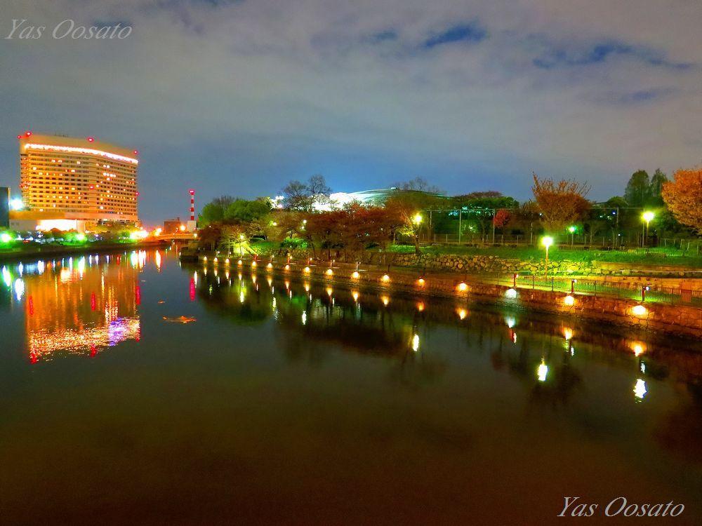 ライトアップの大阪城