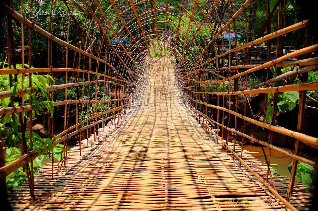 蔓と竹で出来た橋を渡りパースワム滝へ