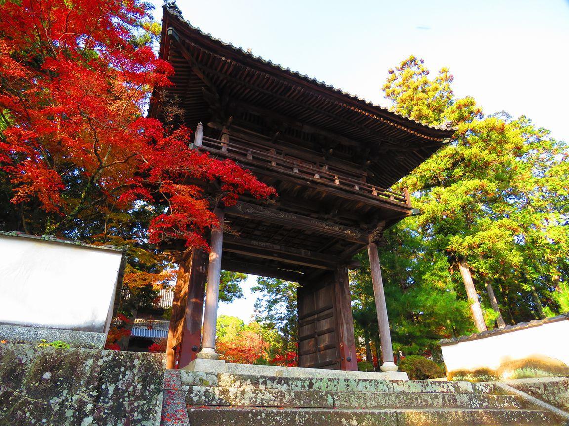 井山宝福寺の山門と少年雪舟像