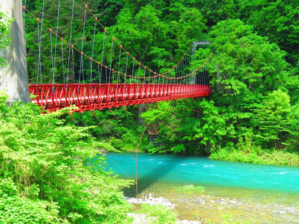 見事なコントラスト「神の岩橋」と玉川の流れ