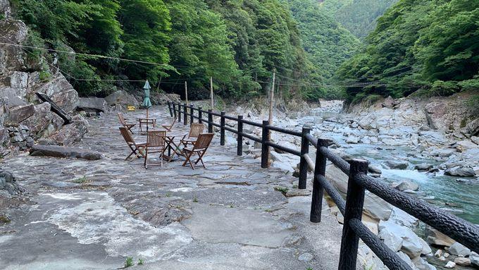 川の畔にある露天風呂は四国では珍しい源泉かけ流し